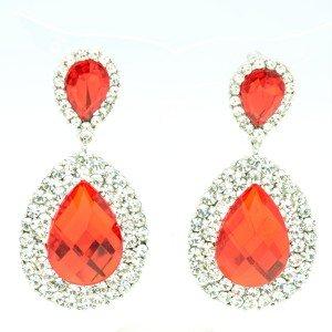 Luxury Red Dual Tear Drop Dangle Pierced Earring Rhinestone Crystal 122418