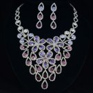 Women Purple Flower Zircon Drop Necklace Earring Jewelry Sets Swarovski Crystal