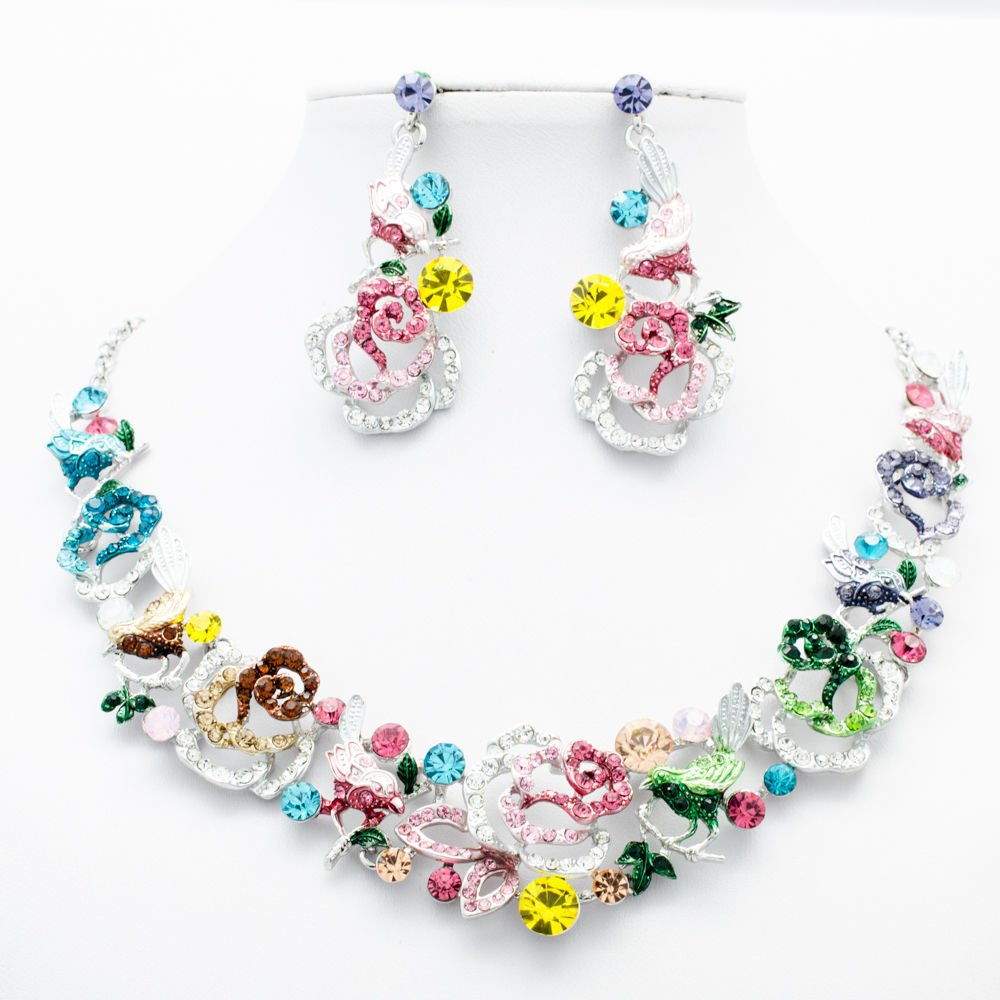 Blink Multicolor Animal Bird Rose Flower Necklace Sets Rhinestone Crystal 6854