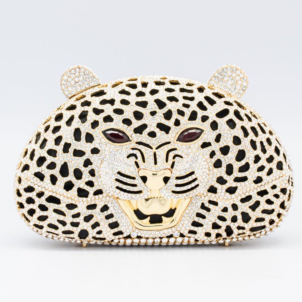High-Quality Panther Leopard Clutch Evening Bag Purse Handbag Swarovski Crystal