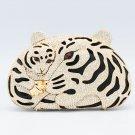 Super Panther Leopard Clutch Evening Bag Purse Handbag Gold Swarovski Crystals