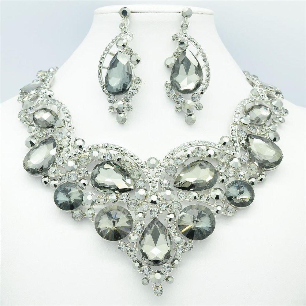Black Rhinestone Crystal Ball Jewelry Flower Teardrop Necklace Earring Set 02733