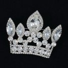 Rhinestone Crystals Trendy Clear Crown Brooch Broach Hat Pin for Women Prom 5050