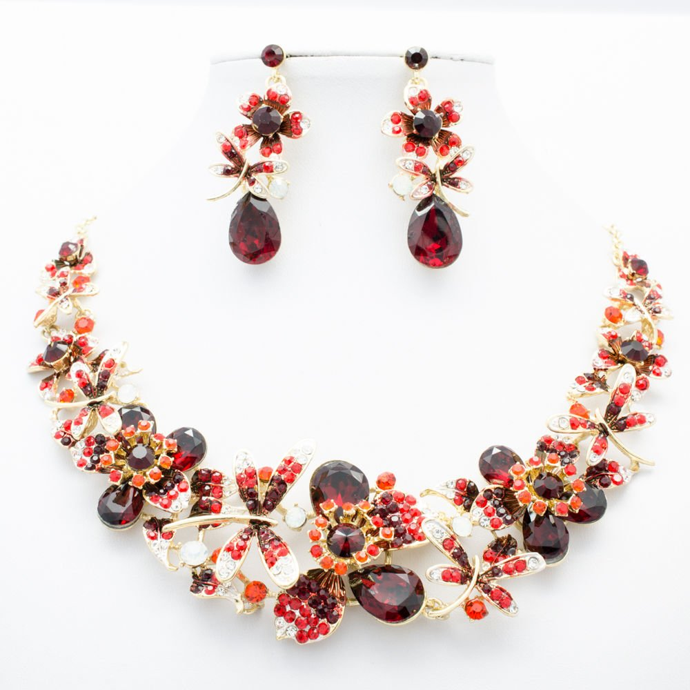 Tiptop Wine Red Dragonfly Flower Necklace Set Rhinestone Crystals Jewelry 5394