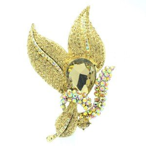 Glaring Brown Leaf Drop Brooch Broach Pin Women Jewelry Rhinestone Crystals 6018