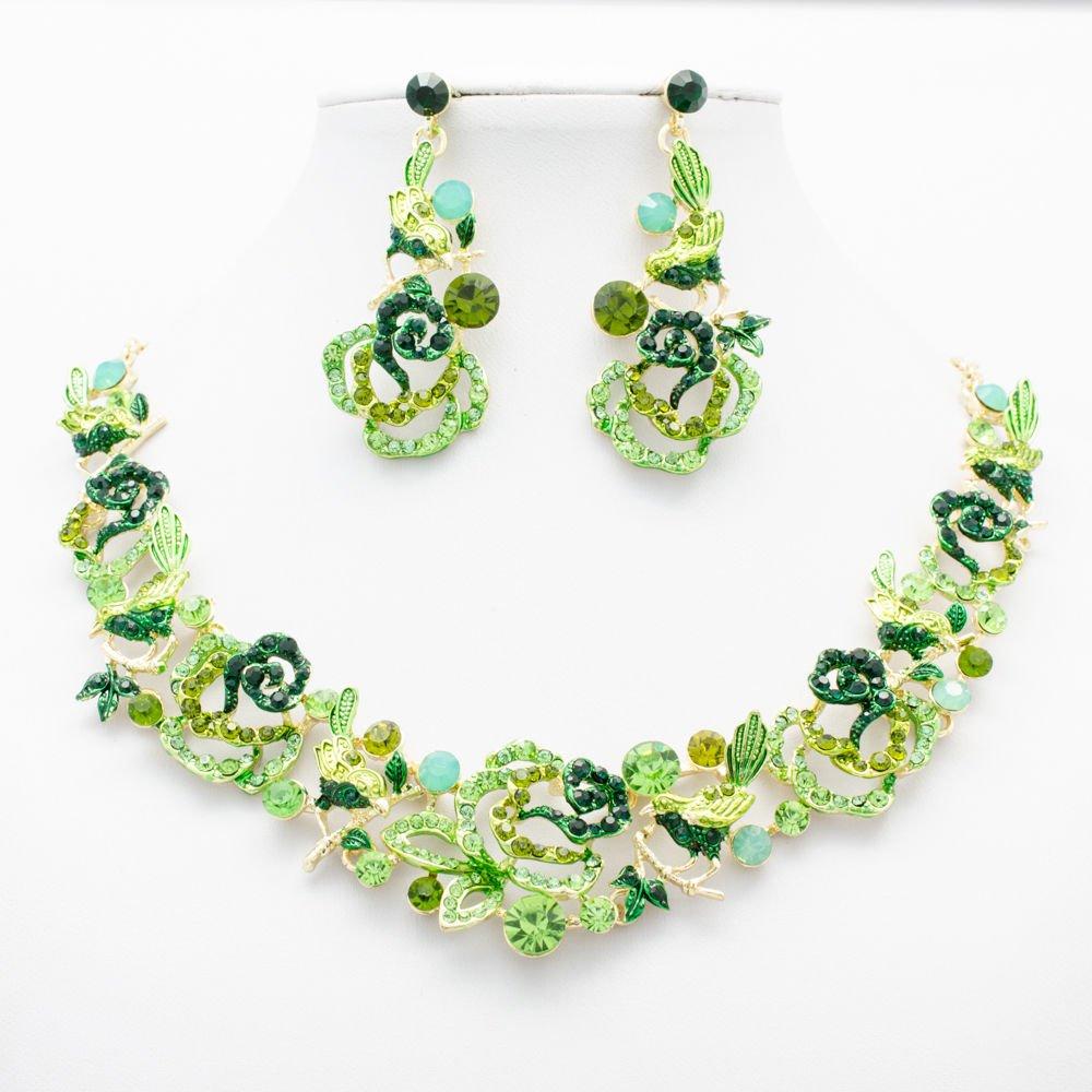 Fresh Green Bird Rose Flower Necklace Set Rhinestone Crystal Women Jewelry 6854