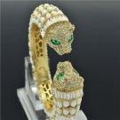 Hi-Q White Acrylic Dual Leopard Bracelet Bangle Cuff Rhinestone Crystals 00988
