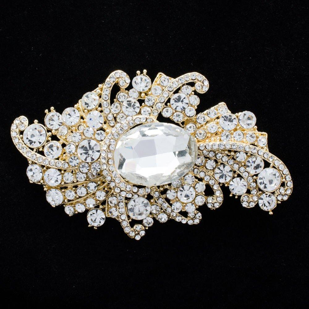 """Cute Clear Drop Flower Brooch Pin 3.7"""" Bridal Bridesmaid Rhinestone Crystal 4514"""