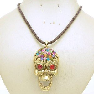 Brown Synthetic Leather Skeleton Skull Necklace Pendant with Multicolor Crystals