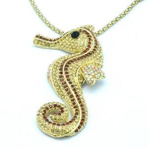 Trendy Women's Jewelry Cute Brown Sea Horse Necklace Pendant Rhinestone Crystals