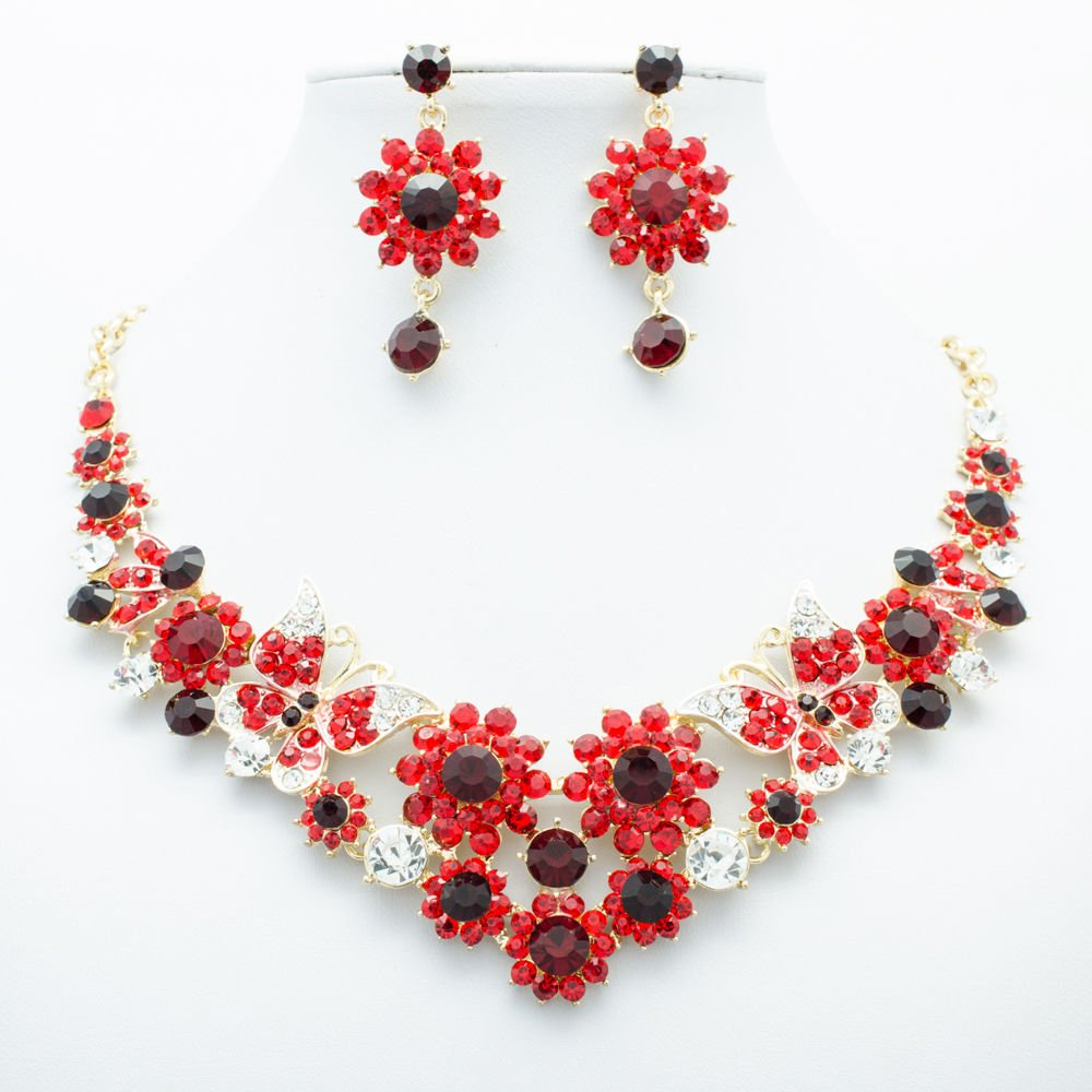 Chic Red Round Flower Butterfly Necklace Sets Rhinestone Crystal For Women 00328