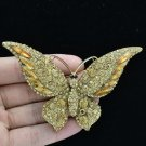 Pretty Brown Butterfly Brooch Broach Pin Women's Jewelry Rhinestone Crystal 4538