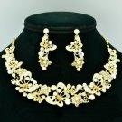 Luxury Flower Butterfly Necklace Earring Sets Clear A/B Rhinestone Crystal 6154