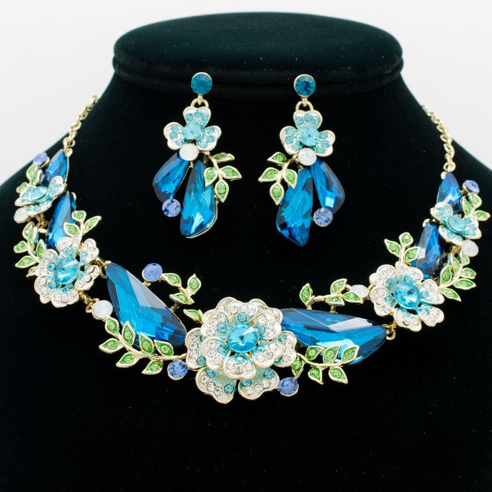 Elegant Sea Blue Drop Leaf Flower Necklace Earring Sets Rhinestone Crystals 6703