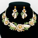 Gorgeous Topaz Drop Leaves Flower Necklace Earring Sets Rhinestone Crystals 6703