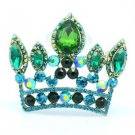 "Pendant Crown Brooch Broach Pin W/ Green Rhinestone Crystals 2.3"""