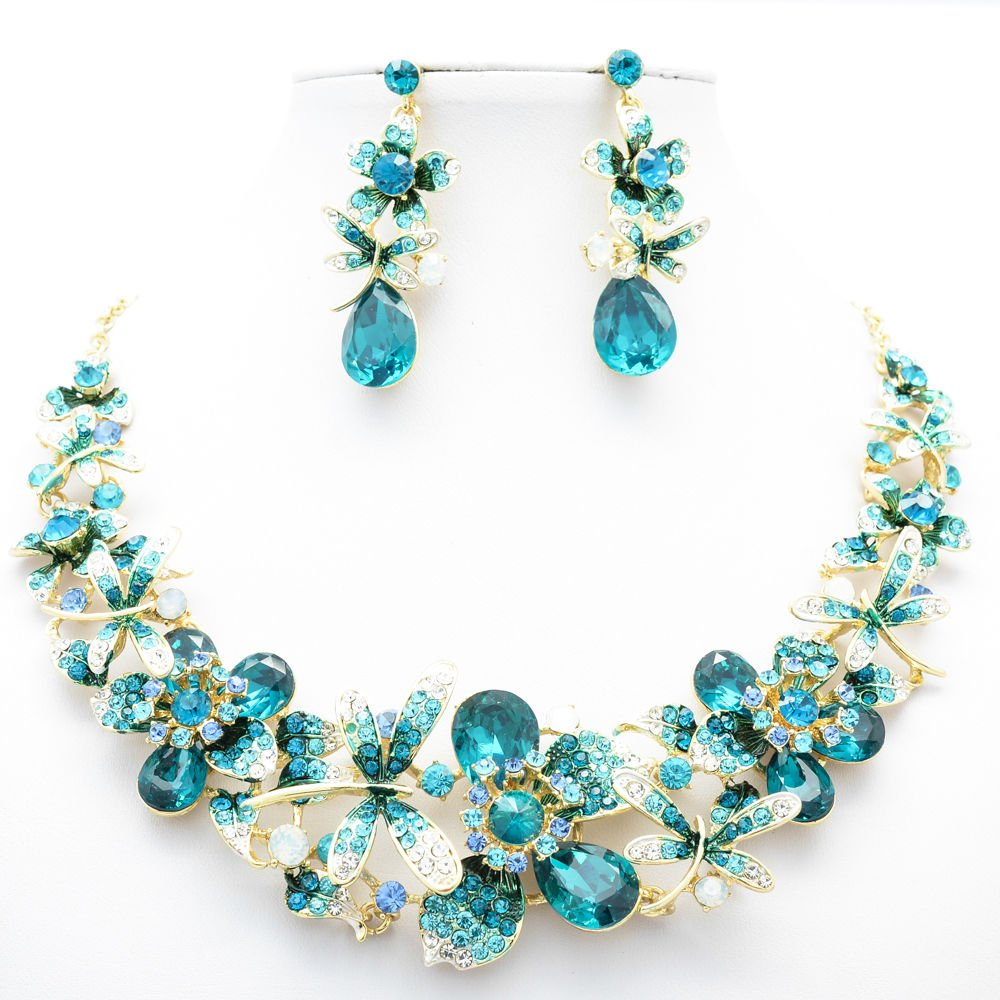 Dark Green Dragonfly Flower Necklace Sets Rhinestone Crystals Women Jewelry 5394