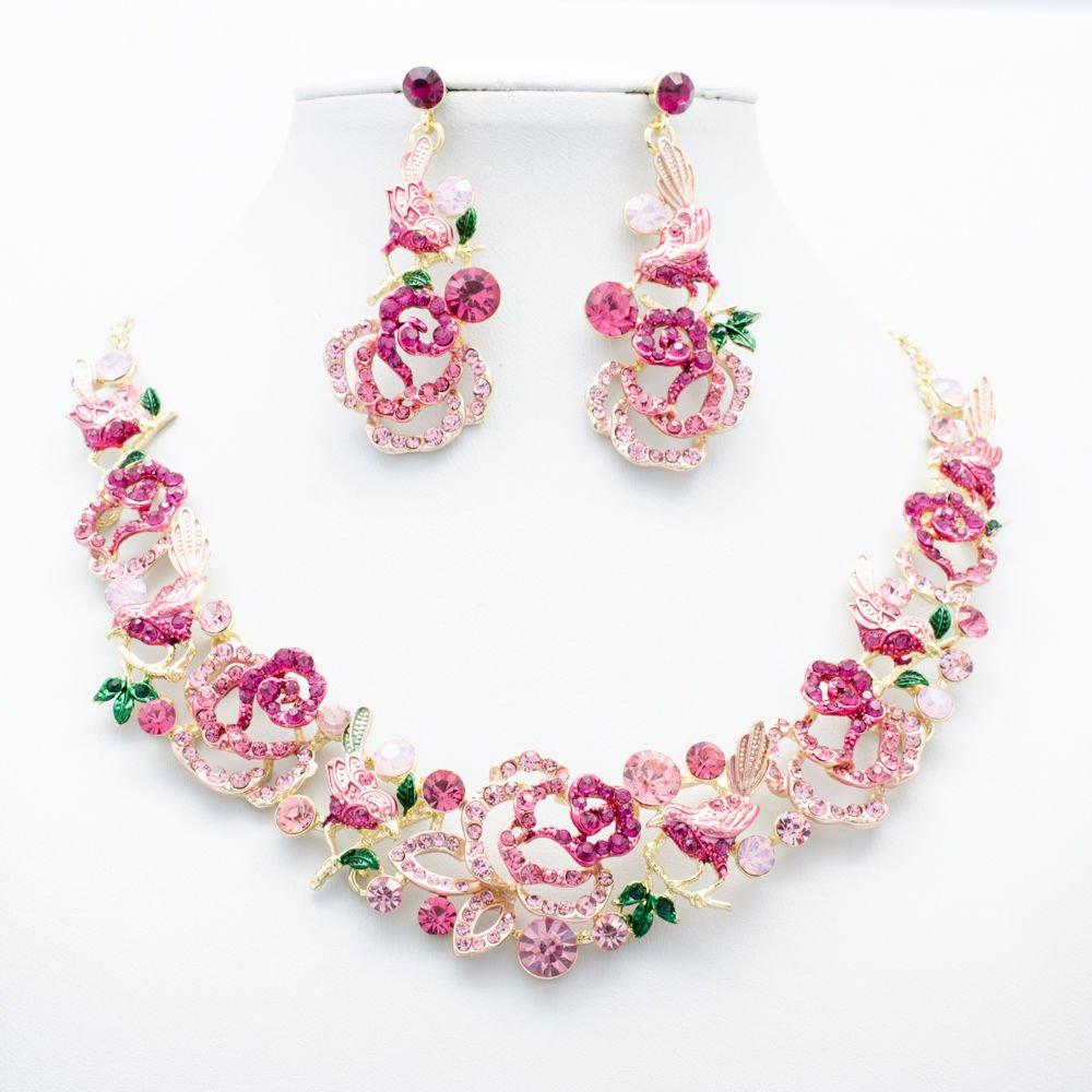Chic Pink Bird Rose Flowers Necklace Sets Rhinestone Crystal Women Jewelry 6854
