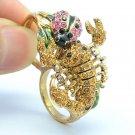 Vintage Pink Ladybug Rings Scorpion Cocktail Ring Sz 7# Swarovski Crystals