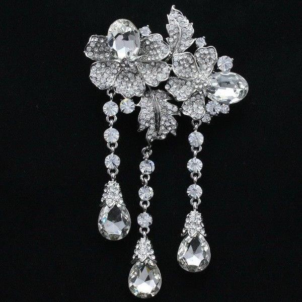 """Women Wedding Bridal Flower Brooch Broach Pin 4.7"""" Clear Rhinestone Crystal 4740"""