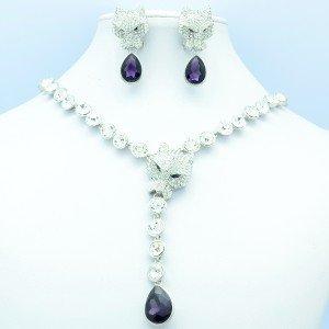 Swarovski Crystals Beads Animal Leopard Necklace Earring Set w/ Purple Teardrop