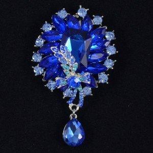 "Vogue Women Royal Blue Drop Flower Brooch Broach Pin 3.5""Rhinestone Crystal 4783"