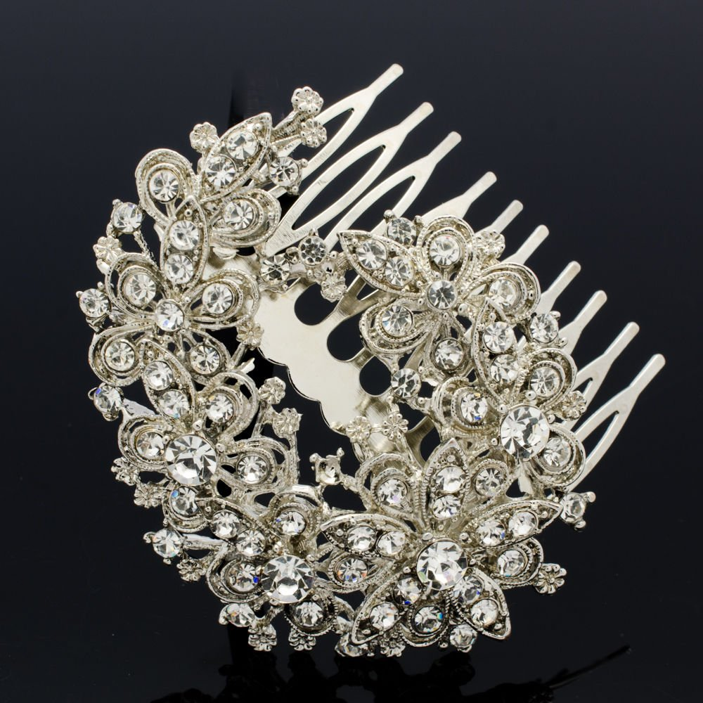 Cute Floral Flower Brooch Broach Pin Bridal Prom Jewelry Rhinestone Crystal 4665