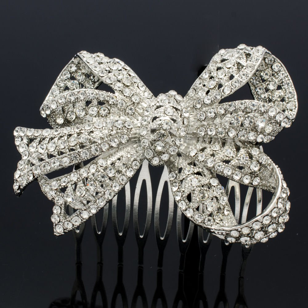 Clear Wedding Rhinestone Crystals Bowknot Bow Hair Comb Headband For Women 5820