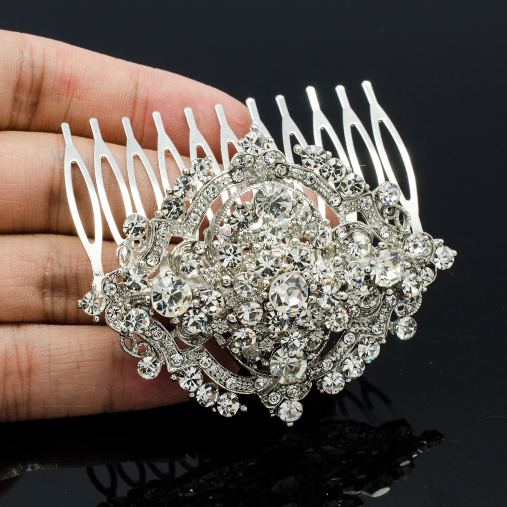"Rhinestone Crystals Bridal Bridesmaid Drop Cluster Flower Hair Comb 2.4"" 3797FS"