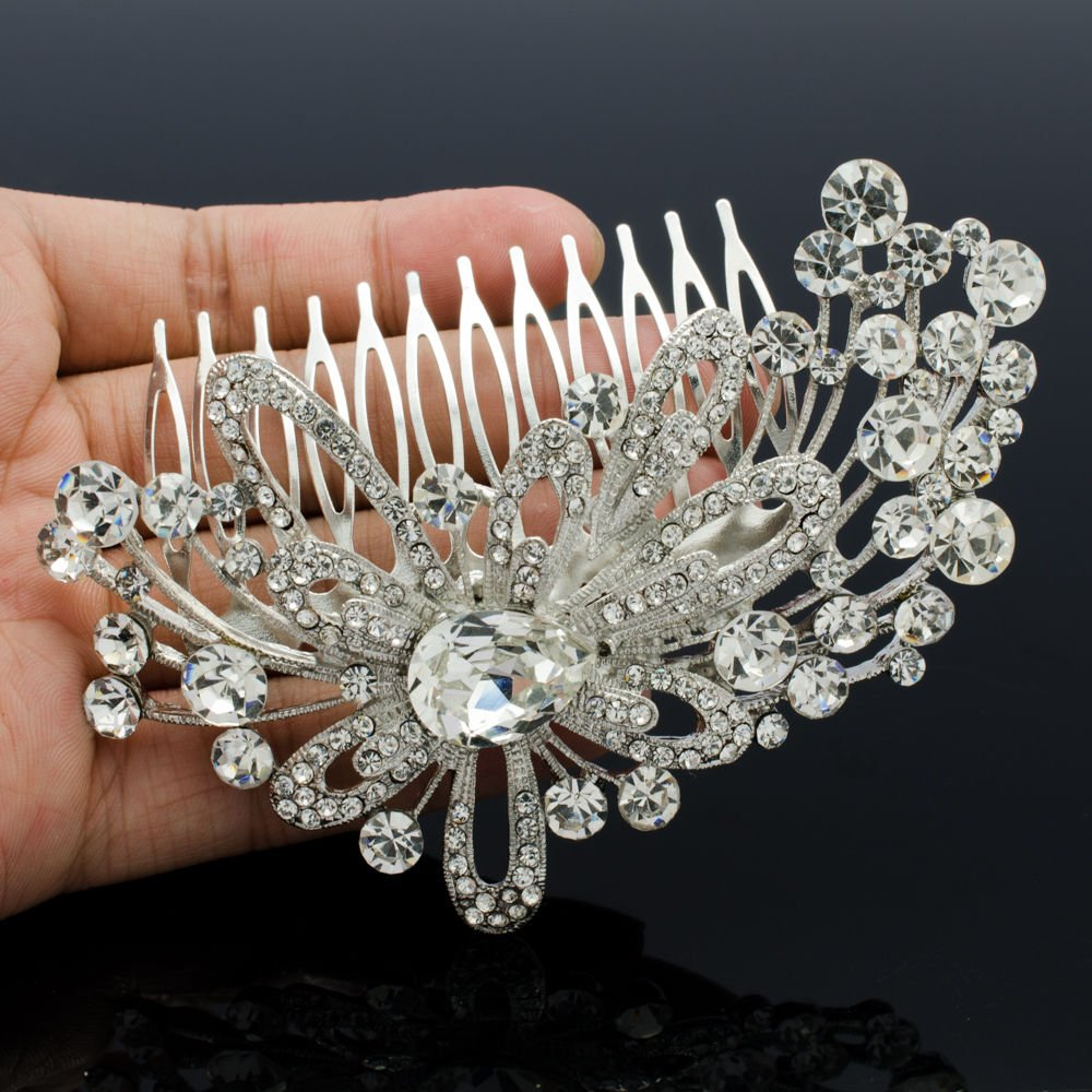 Wedding Bridal Fireworks Flower Hair Comb Hair Jewelry Rhinestone Crystals 4621