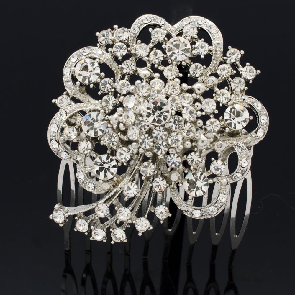 Smart Bridal Bridesmaid Heart Bouquet Hair Comb Headband Rhinestone Crystal 4660