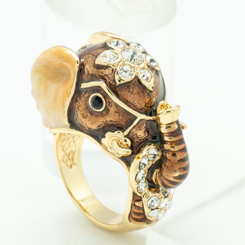 Swarovski Crystal Cute Brown Enamel Elephant Cocktail Ring Women Party Sz 8 2173