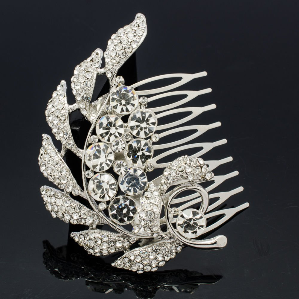 Pretty Leaf Drop Hair Comb Women Hair Jewelry Prom Party Rhinestone Crystal 2867