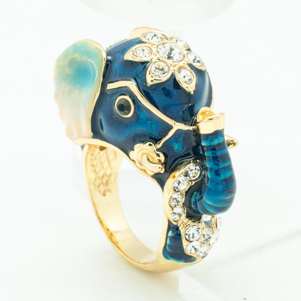 Tiptop Blue Enamel Elephant Cocktail Ring Swarovski Crystal Jewelry Size 7# 2183