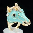 Rhinestone Crystal Jade Green Enamel Horse Unicorn Cocktail Ring Jewelry 8# 2177