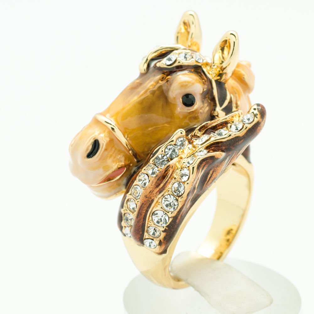 Trendy Swarovski Crystal Jewelry Brown Enamel Horse Cocktail Bronco Ring 7# 2176