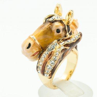 Trendy Swarovski Crystal Jewelry Brown Enamel Horse Cocktail Bronco Ring 7# 2176