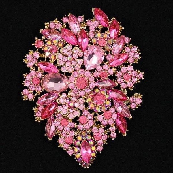 Vintage Pink Flower Brooch Broach Pins Jewelry Tear Drop Rhinestone Crystal 3905