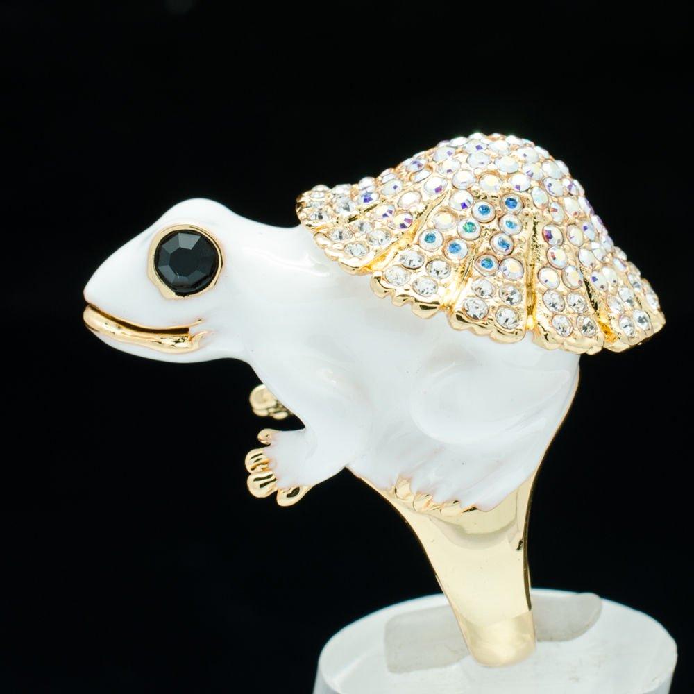 Hi-Q Swarovski Crystal White Enamel Frog Cocktail Ring Women Jewelry Sz 7# 2142