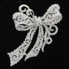 Charm Bridal Riband Bowknot Brooch Pin Clear Rhinestone Crystal 5823