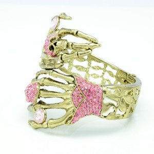 Halloween Pink Rhinestone Crystals Skeleton Skull Hand Bracelet Bangle
