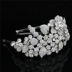 Wedding Bridal Leaf Flower Headband Tiara w/ Clear Rhinestone Crystal