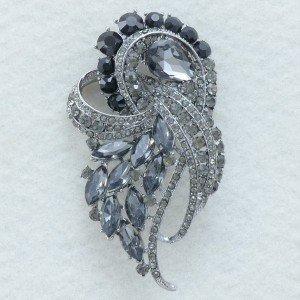 "VTG Black Diamond Drop Flower Brooch Broach Pins 3.5"" Rhinestone Crystal 4243"