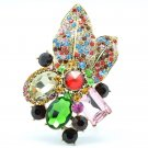 Gorgeous Leaf Floral Pendant Brooch Pin Multicolor Oval Rhinestone Crystals 6416