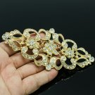 Gold Royal Style Flower Cloth Brooch Pin Rhinestone Crystal Women Jewelry XBY125