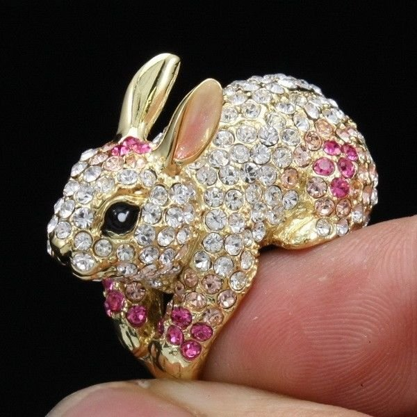 H-Quality Cute Pink Bunny Rabbit Cocktail Ring Size 9# Swarovski Crystals SR1841