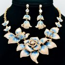 Fabulous Blue Rose Flower Necklace Earring Set Enamel Swarovski Crystal SNA2807
