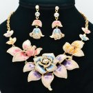 Multicolor Rose Flower Necklace Earring Set Enamel Swarovski Crystals SNA2807