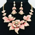 Fabulous Pink Rose Flower Necklace Earring Set Enamel Swarovski Crystal SNA2807