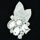 Wedding Leaf Floral Pendant Brooch Pin W/ Clear Oval Rhinestone Crystals 6416